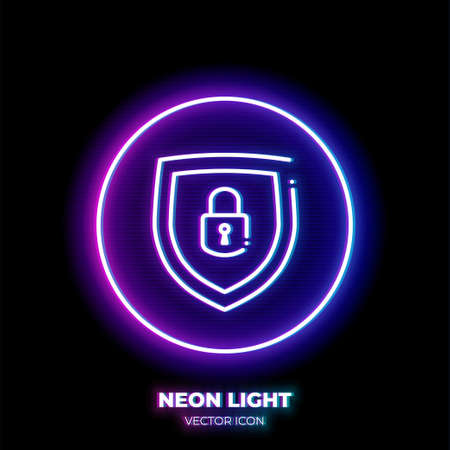 Lock on shield neon light line art vector icon. Outline symbol of access protection. Security pictogram made of thin stroke. Isolated on background. Illustration