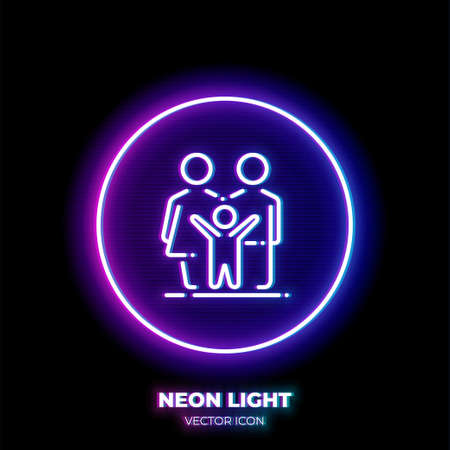 Family neon light line art vector icon. Outline symbol of group of people. Mother, father and kid pictogram made of thin stroke. Isolated on background. Illustration