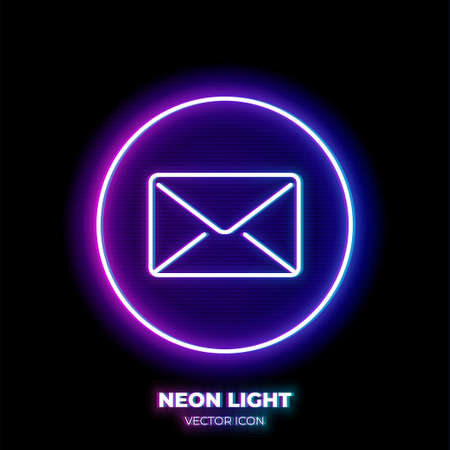 Email neon light line art vector icon. Outline symbol of post envelope. Communication pictogram made of thin stroke. Isolated on background.