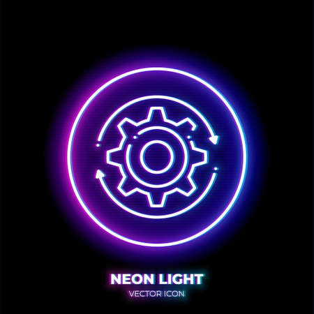 Gear neon light line art vector icon. Outline symbol of cog wheel. Engineering pictogram made of thin stroke. Isolated on background. Illustration