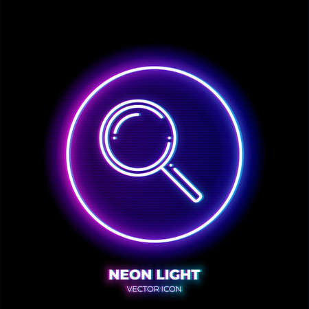 Magnifying glass neon light line art vector icon. Outline symbol of internet search. Find pictogram made of thin stroke. Isolated on background. Illustration