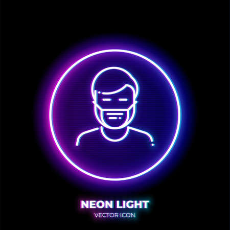 Man in medical mask neon light line art vector icon. Outline symbol of protection from illness. Virus spreading prevention pictogram made of thin stroke. Isolated on background. Vektoros illusztráció