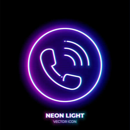 Phone neon light line art vector icon. Outline symbol of call. Contact us pictogram made of thin stroke. Isolated on background.