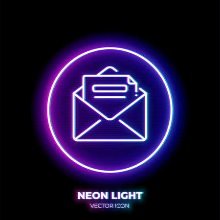 Letter neon light line art vector icon. Outline symbol of email. Message pictogram made of thin stroke. Isolated on background. Illustration