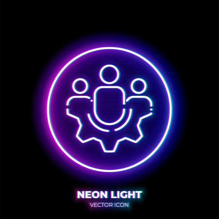 Group of people on gear neon light line art vector icon. Outline symbol of teamwork. Cooperation pictogram made of thin stroke. Isolated on background. Illustration
