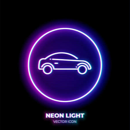 Car neon light line art vector icon. Outline symbol of vehicle. Sedan automobile pictogram made of thin stroke. Isolated on background. Illustration