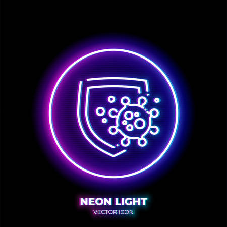 Shield protects from virus cell neon light line art vector icon. Outline symbol of health protection. Immunity defense pictogram made of thin stroke. Isolated on background.