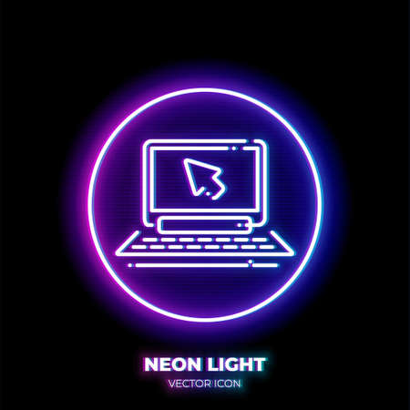 Laptop with mouse cursor neon light line art vector icon. Outline symbol of notebook. Action click pictogram made of thin stroke. Isolated on background. Illustration
