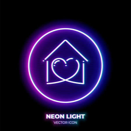 Stay home neon light line art vector icon. Outline symbol of heart in house. Love pictogram made of thin stroke. Isolated on background.