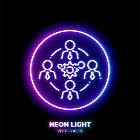Business teamwork neon light line art vector icon. Outline symbol of people group around gears. Cooperation pictogram made of thin stroke. Isolated on background.