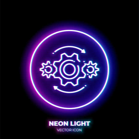 Gears neon light line art vector icon. Outline symbol of machine engine. Industry pictogram made of thin stroke. Isolated on background.
