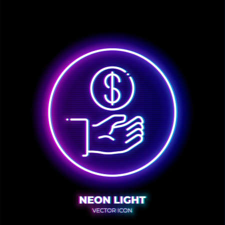 Hand with coin neon light line art vector icon. Outline symbol of payment. Investment pictogram made of thin stroke. Isolated on background. Illustration