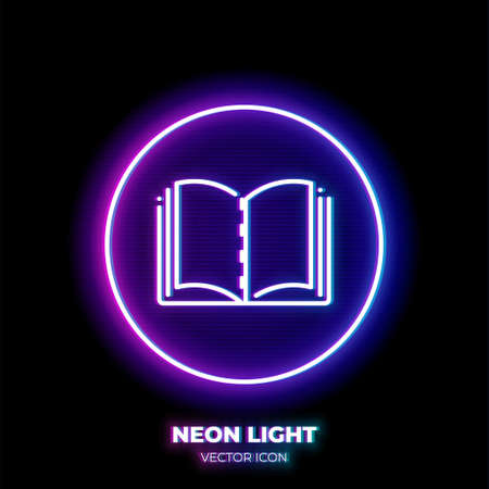 Textbook neon light line art vector icon. Outline symbol of open book. Literature pictogram made of thin stroke. Isolated on background. Illustration
