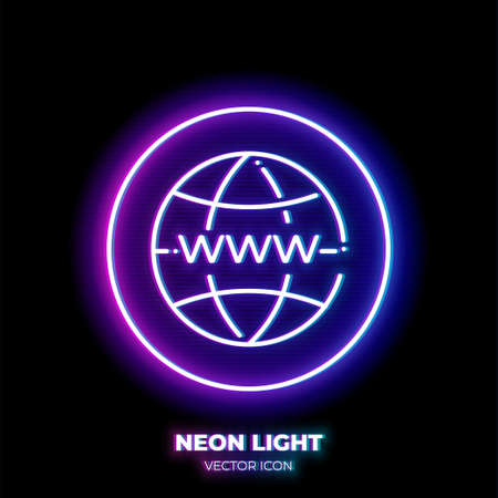 Globe with www on it neon light line art vector icon. Outline symbol of internet. Network technology pictogram made of thin stroke. Isolated on background.