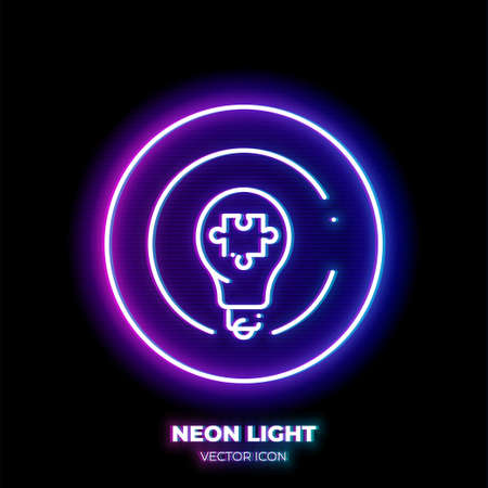 Lightbulb with puzzle piece neon light line art vector icon. Outline symbol of creative solution. Idea pictogram made of thin stroke. Isolated on background.