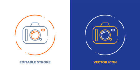 Camera line art vector icon with editable stroke. Outline symbol of Photo equipment. Photographer pictogram made of thin stroke. Isolated on background.