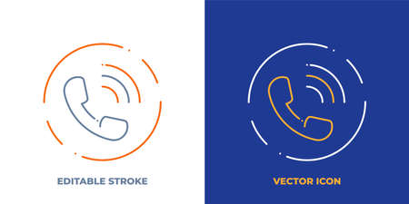 Phone line art vector icon with editable stroke. Outline symbol of call. Contact us pictogram made of thin stroke. Isolated on background. Illustration