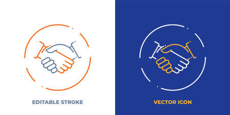 Handshake line art vector icon with editable stroke. Outline symbol of agreement. Partnership pictogram made of thin stroke. Isolated on background. Illustration