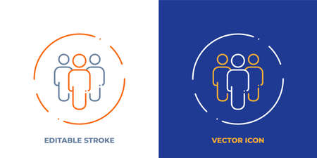 Teamwork line art vector icon with editable stroke. Outline symbol of group of people. Team pictogram made of thin stroke. Isolated on background.