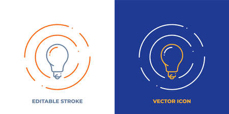 Lightbulb line art vector icon with editable stroke. Outline symbol of lamp. Creative idea pictogram made of thin stroke. Isolated on background.