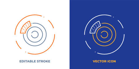 Car brake line art vector icon with editable stroke. Outline symbol of automobile stop pad. Vehicle caliper pictogram made of thin stroke. Isolated on background.