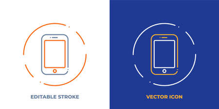 Smartphone line art vector icon with editable stroke. Outline symbol of modern phone. Mobile smart cellphone pictogram made of thin stroke. Isolated on background.