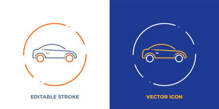 Car line art vector icon with editable stroke. Outline symbol of vehicle. Sedan automobile pictogram made of thin stroke. Isolated on background.