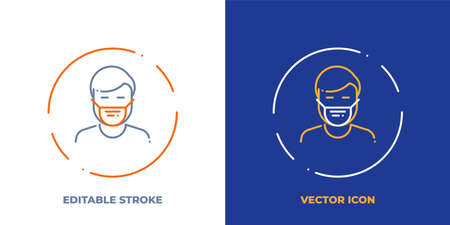 Man in medical mask line art vector icon with editable stroke. Outline symbol of protection from illness. Virus spreading prevention pictogram made of thin stroke. Isolated on background. Illustration