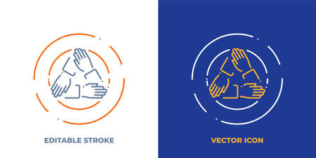 Three hands holding each other line art vector icon with editable stroke. Outline symbol of cooperation. Teamwork pictogram made of thin stroke. Isolated on background. Illustration