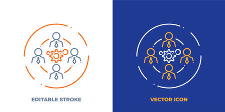 Business teamwork line art vector icon with editable stroke. Outline symbol of people group around gears. Cooperation pictogram made of thin stroke. Isolated on background.