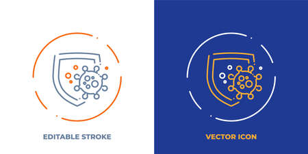 Shield protects from virus cell line art vector icon with editable stroke. Outline symbol of health protection. Immunity defense pictogram made of thin stroke. Isolated on background. Illustration