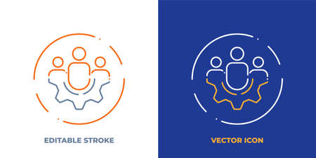 Group of people on gear line art vector icon with editable stroke. Outline symbol of teamwork. Cooperation pictogram made of thin stroke. Isolated on background.