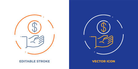 Hand with coin line art vector icon with editable stroke. Outline symbol of payment. Investment pictogram made of thin stroke. Isolated on background. Illustration