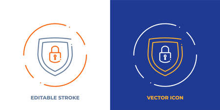 Lock on shield line art vector icon with editable stroke. Outline symbol of access protection. Security pictogram made of thin stroke. Isolated on background. Illustration