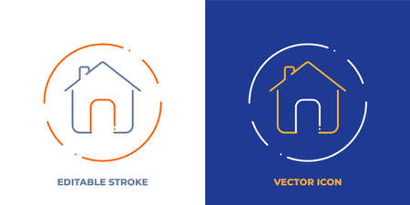 Home line art vector icon with editable stroke. Outline symbol of house. Building pictogram made of thin stroke. Isolated on background. Illustration