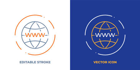 Globe with www on it line art vector icon with editable stroke. Outline symbol of internet. Network technology pictogram made of thin stroke. Isolated on background. Illustration