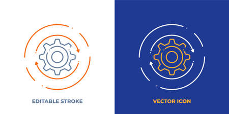 Gear line art vector icon with editable stroke. Outline symbol of cog wheel. Engineering pictogram made of thin stroke. Isolated on background. Illustration