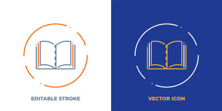 Textbook line art vector icon with editable stroke. Outline symbol of open book. Literature pictogram made of thin stroke. Isolated on background.