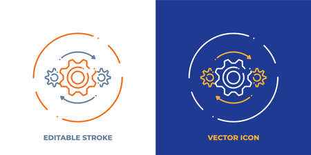 Gears line art vector icon with editable stroke. Outline symbol of machine engine. Industry pictogram made of thin stroke. Isolated on background.