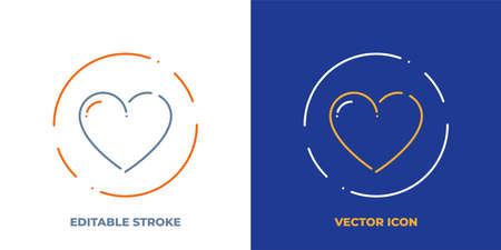 Heart line art vector icon with editable stroke. Outline symbol of love. Valentine pictogram made of thin stroke. Isolated on background.