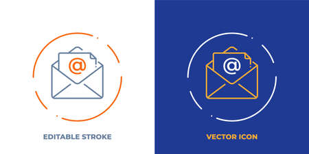 Email line art vector icon with editable stroke. Outline symbol of post envelope. Communication pictogram made of thin stroke. Isolated on background.