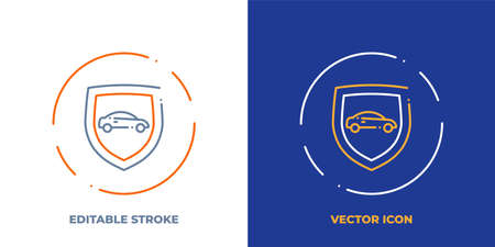 Car on shield line art vector icon with editable stroke. Outline symbol of vehicle protection. Security pictogram made of thin stroke. Isolated on background.