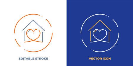 Stay home line art vector icon with editable stroke. Outline symbol of heart in house. Love pictogram made of thin stroke. Isolated on background. Illustration