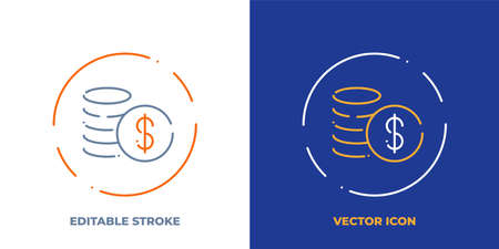 Cash line art vector icon with editable stroke. Outline symbol of money. Investment pictogram made of thin stroke. Isolated on background.