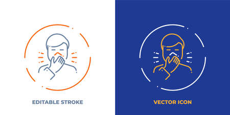 Man coughing in tissue line art vector icon with editable stroke. Outline symbol of allergy. Virus protection pictogram made of thin stroke. Isolated on background.