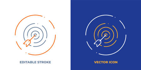 Goal line art vector icon with editable stroke. Outline symbol of dartboard. Success strategy pictogram made of thin stroke. Isolated on background. Illustration