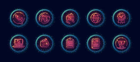 10 in 1 vector icons set related to calculation theme. Lineart vector icons in geometric neon glow style with particles isolated on background. Ilustración de vector