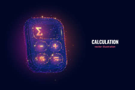 Calculate total price digital wireframe made of connected dots. Calculator low poly vector illustration with neon glowing on blue background.