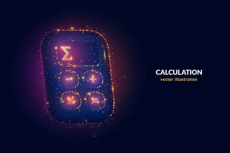 Calculate total price digital illustration made of neon dots. Geometric vector art of price calculator with neon glowing particles on blue background.