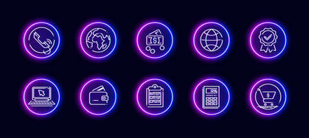 10 in 1 vector icons set related to calculation theme. Lineart vector icons in neon glow style isolated on background.